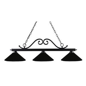 Z-Lite Windsor Traditional 3-Light Billiard Light - Black
