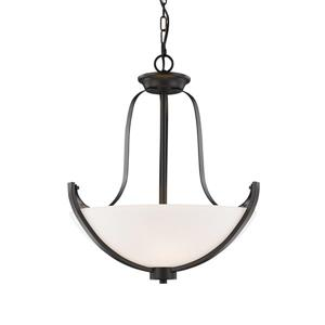 Z-Lite Halliwell 3-Light Pendant - 20.25-in - Glass - Bronze