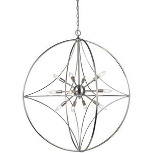Z-Lite Cortez 12-Light Pendant - 36-in - Metal - Nickel