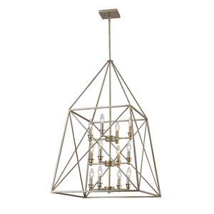 Z-Lite Tressle 12-Light Pendant - 24-in - Metal - Gray