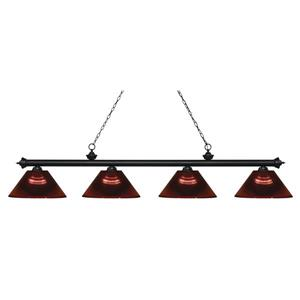 Z-Lite Riviera 4-Light Billard Light - 80.75-in - Burgundy