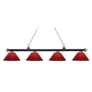 Z-Lite Riviera 4-Light Billard Light - 80.5-in - Red
