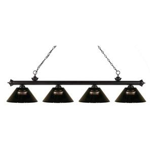Z-Lite Riviera 4-Light Billard Light - 80-in - Bronze