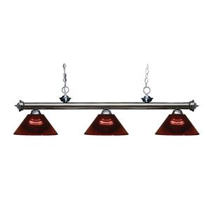 Z-Lite Riviera 3-Light Billard Light - 57-in - Burgundy