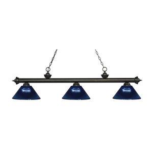 Z-Lite Riviera 3-Light Billard Light - 57.25-in - Dark Blue