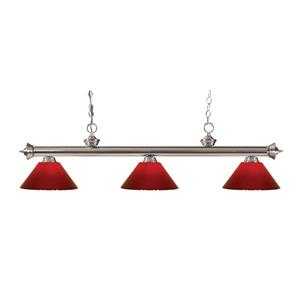 Z-Lite Riviera 3-Light Billard Light - 57-in - Red
