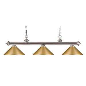 Z-Lite Riviera 3-Light Billard Light - 57-in - Metal - Gold
