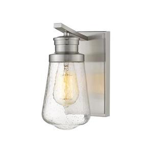 Z-Lite Gaspar 1-Light Wall Sconce - 9-in - Steel - Nickel
