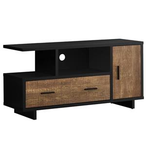 Monarch TV Stand with Storage - 47.25-in - Black/Brown