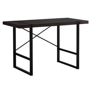 Monarch Computer Desk - 49-in x 30-in - Wood - Cappuccino/Black