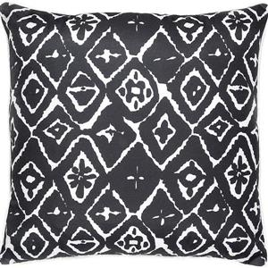 Notre Dame Design Angell Ikat Outdoor Pillow - 22-in- Polyester - Slate Gray