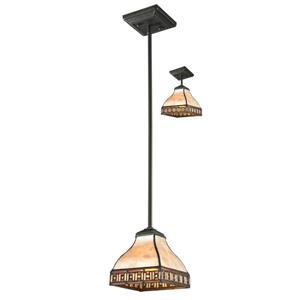 Z-Lite Crimson Mini Pendant - 1 Light  - Bronze/Multicolor Tiffany
