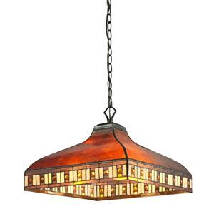 Z-Lite Crimson Light Pendant - 3-Light - Bronze/Multicolor Tiffany