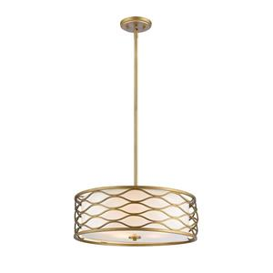 Z-Lite Severine 5 Light Pendant - Old Gold Finish and White Fabric