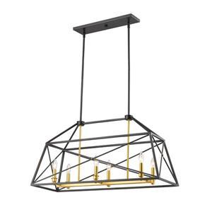 Z-Lite Tressle Pendant Light - 6 Light - Bronze and Gold