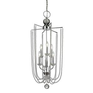 Z-Lite Serenade Light Pendant - 6-Light - Chrome - 17.5-in x  40-in