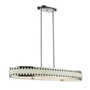 Z-Lite Sevier LED Pendant - Chrome with Black and White Glass