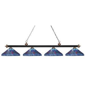 Z-Lite Riviera Pool Table Light -  4-Light - Black/Copper - 82-in