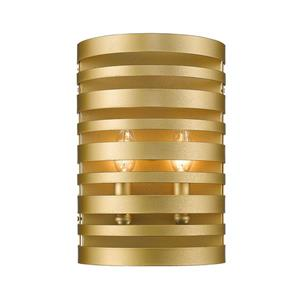 Z-Lite Memphis 2 Light Wall Sconce - Saton Gold - 4-in x 8-in x 12-in