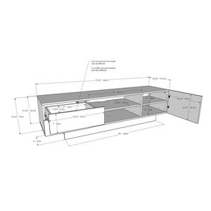 Nexera Marble TV Stand - 71.75-in x 18.38-in - Wood - Greige