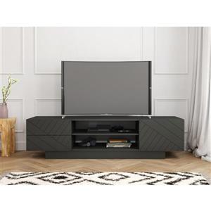 Nexera Galleri TV Stand - 71.75-in x 18.38-in - Wood - Charcoal/Gray