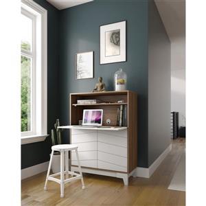 Nexera Boss Secretary Desk - 48.25-in - Melamine - Nutmeg/White