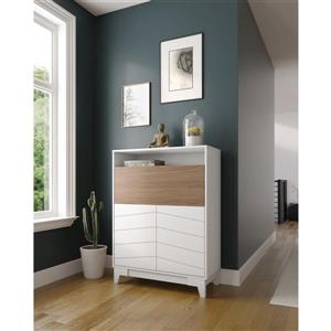 Nexera Boss Secretary Desk - 35.75-in x 48.25-in - Nutmeg/White