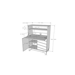 Nexera Boss Secretary Desk - 48.25-in - Nutmeg/White