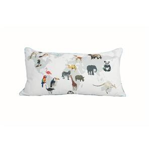 Urban Loft by Westex Map Animals Decorative Cushion -14-in x 26-in - Multicoloured