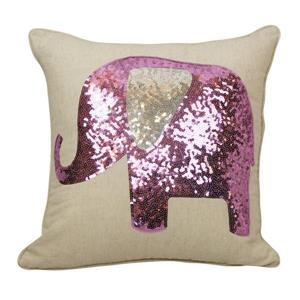 Urban Loft by Westex Sequin Elephant Decorative Cushion - 18-in x 18-in - Lilac