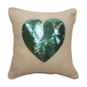 Urban Loft by Westex Sequin Heart Decorative Cushion - 18-in x 18-in - Multicoloured