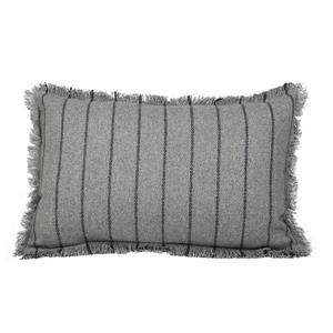 Urban Loft by Westex Fringe Striped Decorative Cushion - 14-in x 26-in - Grey