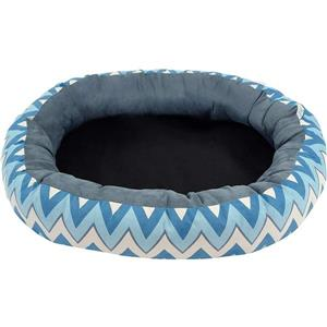 Urban Loft by Westex Oval Chevron Donut Dog Bed - 27-in x 22-in x 7-in - Blue