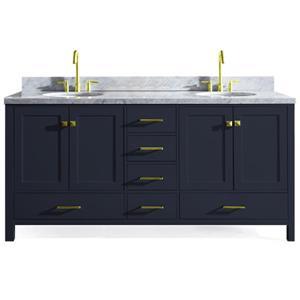 ARIEL Double Oval Sink Vanity - 6 Drawers - 73 in. - Blue