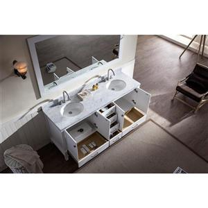 ARIEL Double Oval Sink Vanity - 6 Drawers - 73 in. - White