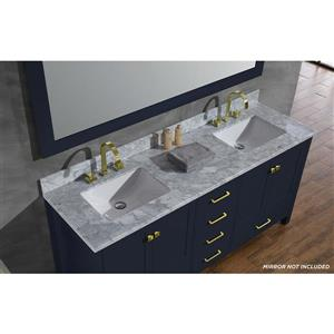 ARIEL Double Rectangle Sink Vanity - 6 Drawers - 73 in. - Blue