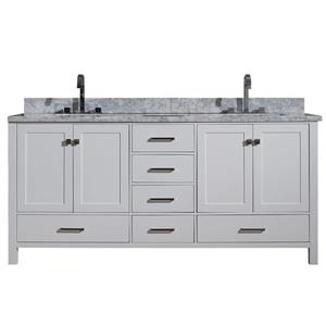 ARIEL Double Rectangle Sink Vanity - 6 Drawers - 73 in. - White
