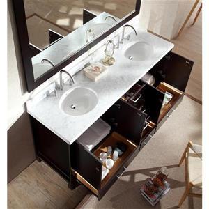 ARIEL Double Oval Sink Vanity - 6 Drawers - 73 in. - Espresso