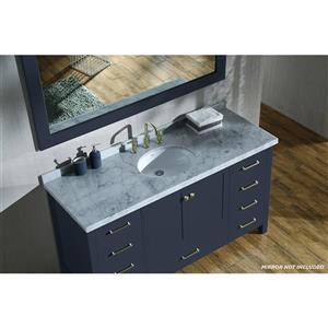 ARIEL Single Oval Sink Vanity - 9 Drawers - 61 in. - Midnight Blue
