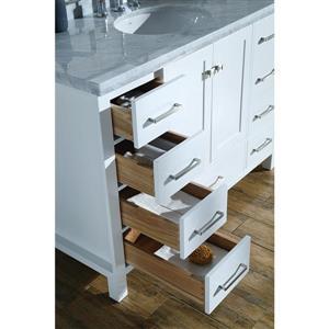 ARIEL Single Oval Sink Vanity - 9 Drawers - 61 in. - White