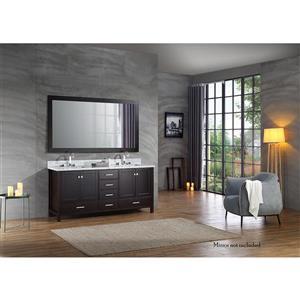 ARIEL Double Rectangle Sink Vanity - 6 Drawers - 73 in. - Espresso