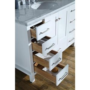 ARIEL Single Rectangle Sink Vanity - 9 Drawers - 61 in. - White