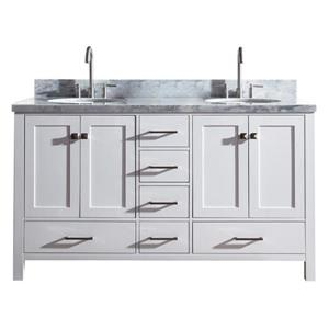 ARIEL Double Oval Sink Vanity - 6 Drawers - 61 in. - White