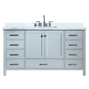 ARIEL Single Rectangle Sink Vanity - 9 Drawers - 61 in. - Grey