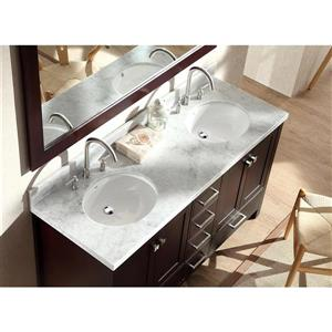 ARIEL Double Oval Sink Vanity - 6 Drawers - 61 in. - Espresso