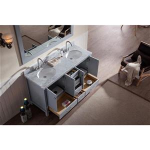 ARIEL Double Oval Sink Vanity - 6 Drawers - 61 in. - Grey