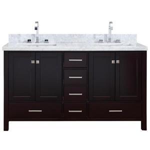 ARIEL Double Rectangle Sink Vanity - 6 Drawers - 61 in. - Espresso