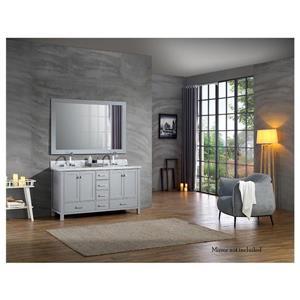 ARIEL Double Rectangle Sink Vanity - 6 Drawers - 61 in. - Grey