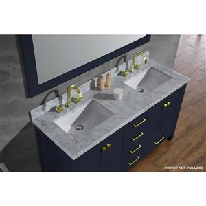 ARIEL Double Rectangle Sink Vanity - 6 Drawers - 61 in. - Blue