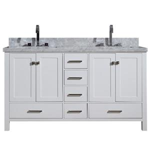 ARIEL Double Rectangle Sink Vanity - 6 Drawers - 61 in. - White
